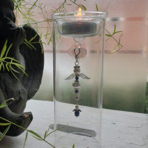 Glazen waxinelicht houder met haakje voor hangertje
