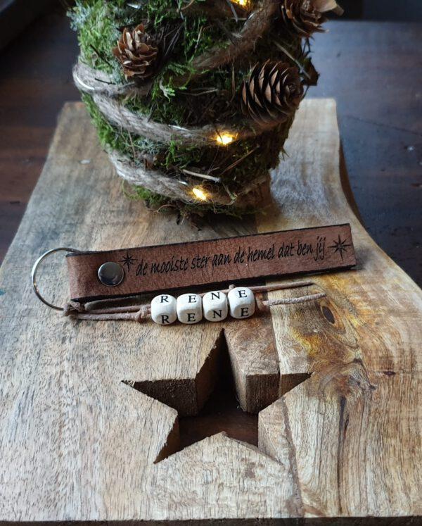 leren sleutelhanger mooiste ster aan de hemel met naam